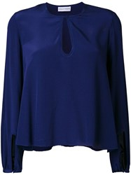 Scanlan Theodore Picot Cropped Blouse Blue