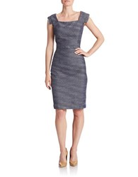 Kay Unger Belted Square Neck Sheath Dress Navy Multi