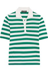Dolce And Gabbana Striped Cashmere Silk Blend Polo Shirt Green