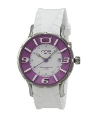 N.O.A. Watches Rubber Strap Watch White Purple