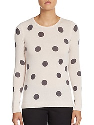 Cashmere Saks Fifth Avenue Polka Dot Cashmere Sweater Pink Grey