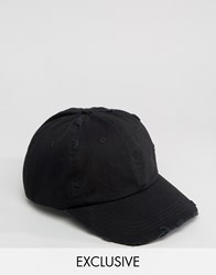 Reclaimed Vintage Distressed Baseball Cap Black Black