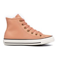 Converse Women's Chuck Taylor All Star Leather Fur Hi Top Trainers Pink Blush Black