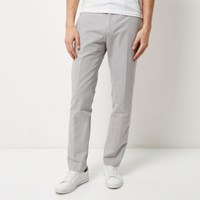 River Island Mens Grey Smart Slim Elastic Waist Trousers