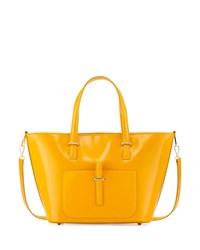 Neiman Marcus Made In Italy Tonal Pocket Leather Tote Bag Yellow
