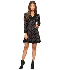 Just Cavalli Lurex Knit Chevron Long Sleeve Dress Black Brown Women's Dress