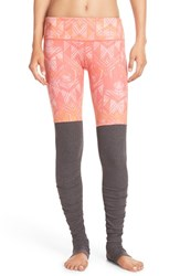 Alo Yoga Women's 'Goddess' Ribbed Leggings Guava Indio Stormy Heather