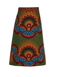 Valentino Enchanted Wonderland A Line Midi Skirt Green Multi