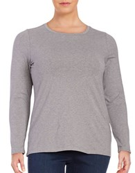 Lord And Taylor Plus Knit Crewneck Shirt Grey