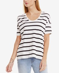 Vince Camuto Striped High Low T Shirt New Ivory