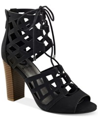 G By Guess Iniko Caged Lace Up Sandals Women's Shoes Black