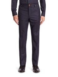 Luciano Barbera Flat Front Wool Pants Navy