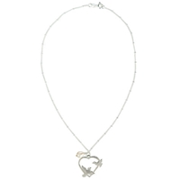 Martick Doves And Pearl Pendant Necklace Silver White
