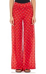 Christopher Kane Heart Print Palazzo Pants Red
