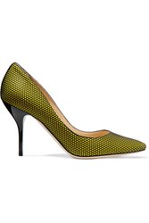 Jimmy Choo Mei Mesh And Suede Pumps Chartreuse