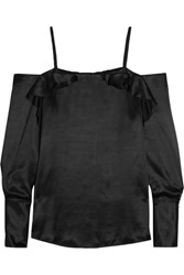 Maggie Marilyn Angelo Ruffled Silk Satin Top Black