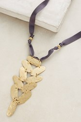 Anthropologie Karia Hammered Pendant Necklace Gold