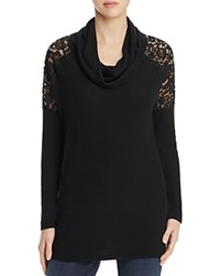 Red Haute Lacy Cowl Neck Sweater Black