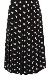 Marc Jacobs Pleated Polka Dot Silk Crepe De Chine Skirt Black
