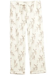 Fat Face Winter Stag Print Pyjama Bottoms Ivory