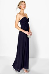 Boohoo Sia Mesh Rouched Plunge Maxi Dress Navy