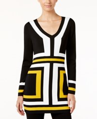 Inc International Concepts V Neck Colorblocked Tunic Sweater Only At Macy's Polished Gold