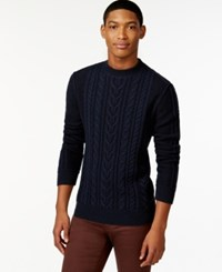 Hugo Boss Boss Orange Kaas Cable Knit Sweater Dark Blue