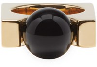 Chloe Gold And Black Square Darcey Ring
