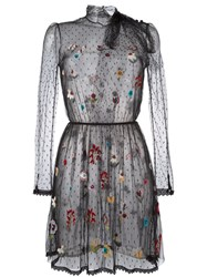 Red Valentino Floral Embroidered Tulle Dress Black