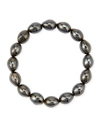 Molten Black Rhodium Bead Stretch Bracelet