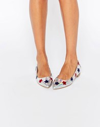 Asos Lourdes Pointed Star Ballet Flats Multi