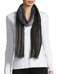 Echo Ombre Sequin Scarf Black