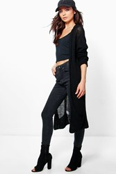 Boohoo Hooded Long Slouch Cardigan Black