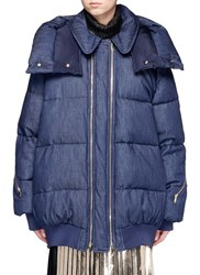 Stella Mccartney Denim Puffer Coat Blue