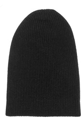 Helmut Lang Ribbed Knit Wool Blend Beanie Black