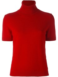 Piazza Sempione Turtleneck Shortsleeved Sweater Red