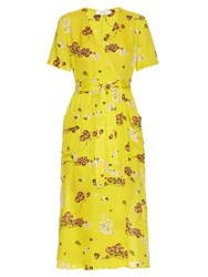 A.L.C. Stephanie Floral Print Silk Crepe Wrap Dress Yellow Multi