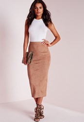 Missguided Longline Faux Suede Midi Skirt Camel