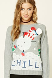 Forever 21 Chill Snowman Holiday Sweater Grey Cream