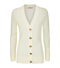 Tory Burch Merino Wool Logo Button Cardigan Female