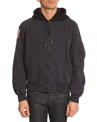 Denim And Supply Ralph Lauren Navy Cotton Bomber Jacket With Flag Patch