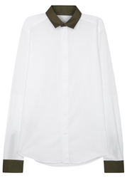 Valentino White And Army Green Cotton Shirt