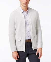 Alfani Men's Big And Tall Flap Pocket Full Zip Cardigan Only At Macy's Active Steel