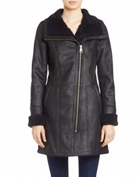 7 For All Mankind Faux Shearling Trimmed Faux Suede Coat Black