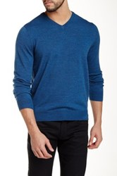 Toscano V Neck Wool Sweater Blue