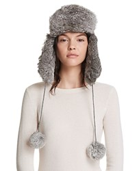 Surell Rabbit Fur Knit Aviator Hat Gray