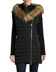 Calvin Klein Faux Fur Trimmed Hooded Quilted Parka Black