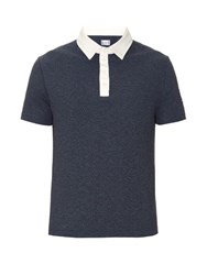 Moncler Gamme Bleu Contrast Collar Cotton Pique Polo Shirt Navy Multi