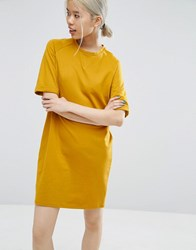 Asos Lightweight Sweat T Shirt Dress Ochre Yellow