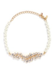 Kenneth Jay Lane Glass Crystal Leaf Pearl Choker Necklace Metallic